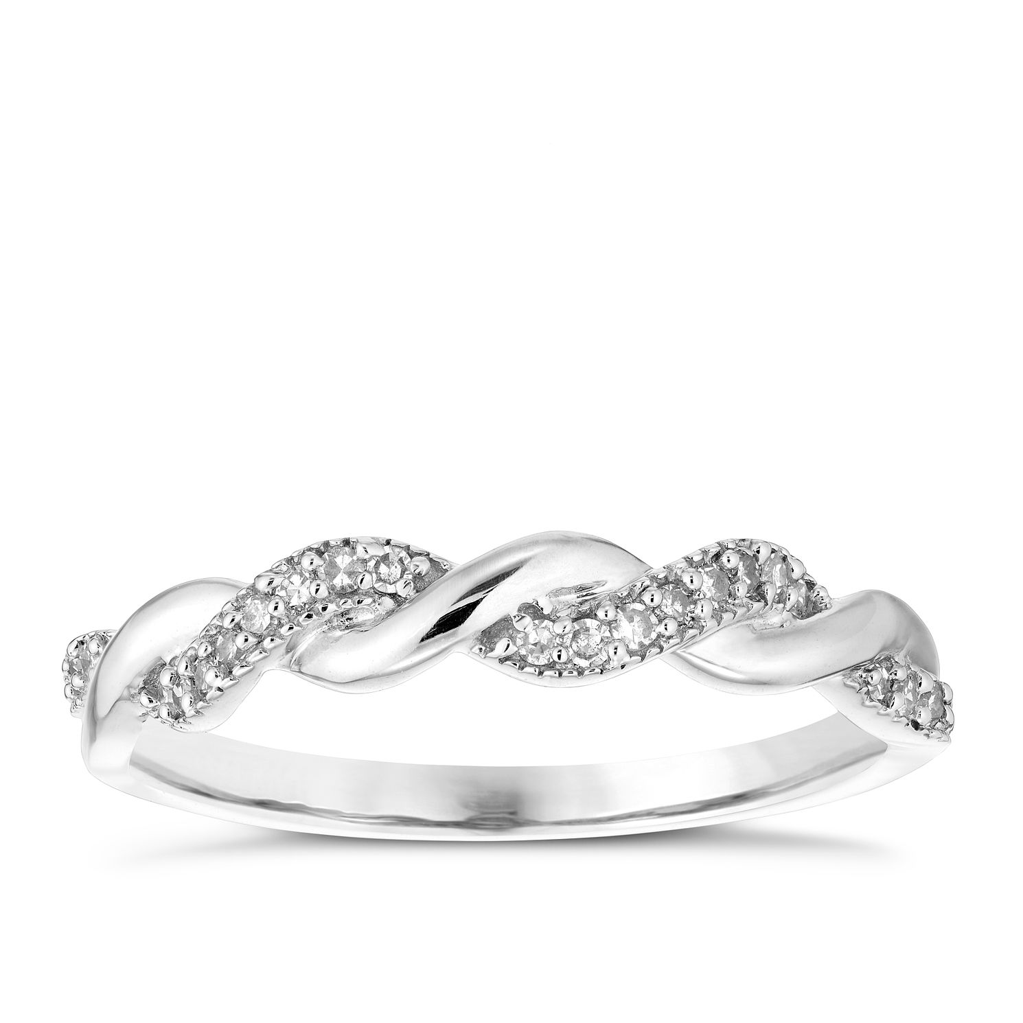 9ct White Gold 1/10ct Diamond Ring - Product number 4928105