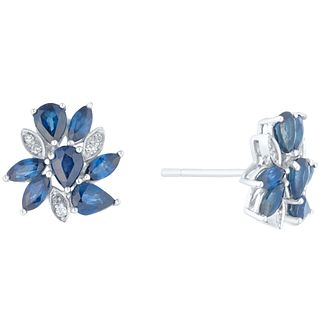 9ct White Gold Sapphire And Diamond Spray Earrings - Product number 4928717