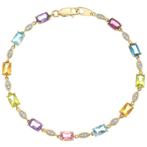 9ct Yellow Gold Multi Stone and Diamond Bracelet - Product number 4931254