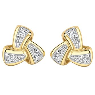 9ct Yellow Gold Diamond Knot Earrings - Product number 4931785