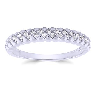 9ct White Gold 1/10ct Diamond Zig Zag Ring - Product number 4932919