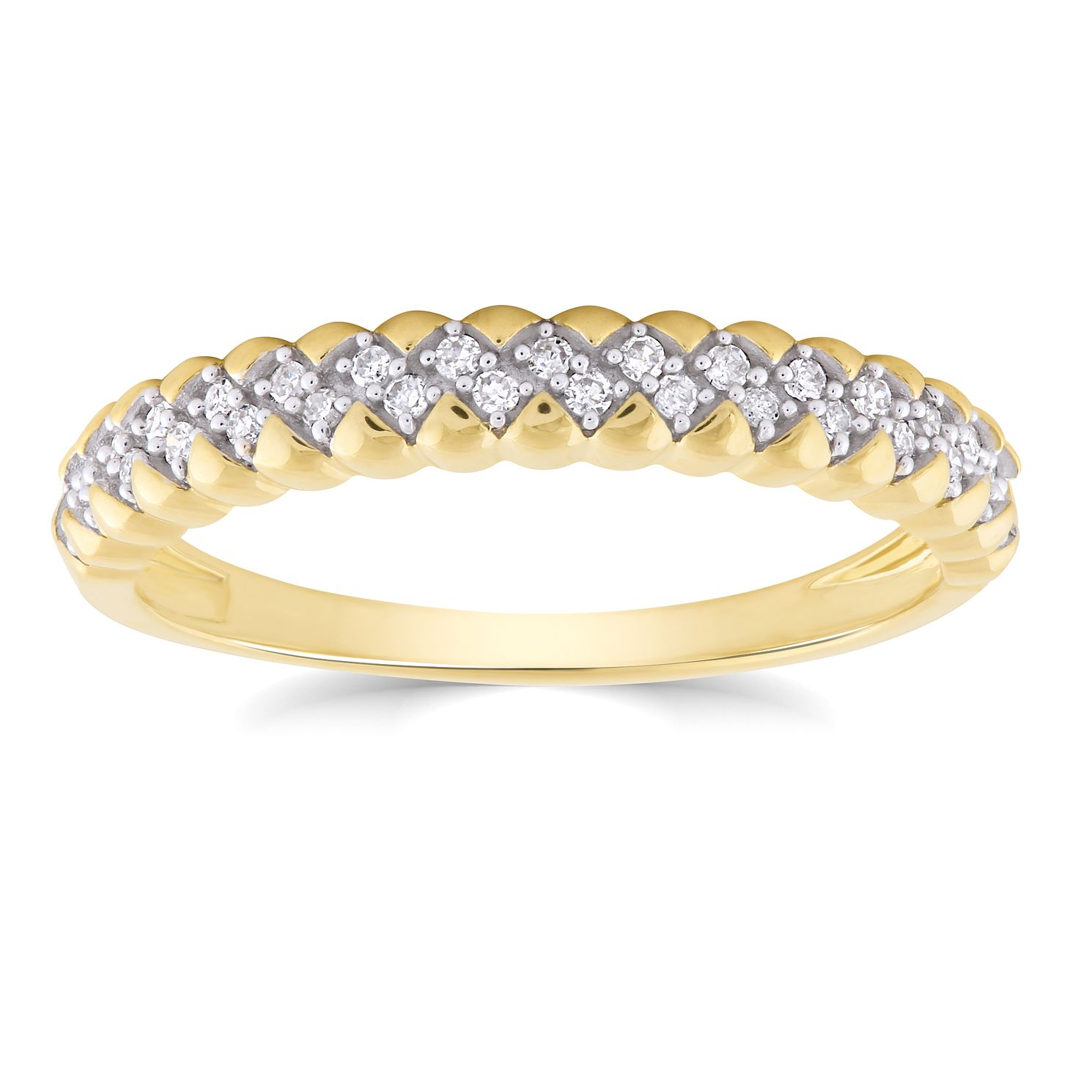 9ct Yellow Gold 1/10ct Diamond Zig Zag Ring - Product number 4933338