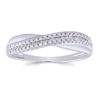 9ct White Gold 0.12ct Diamond Crossover Ring - Product number 4935209