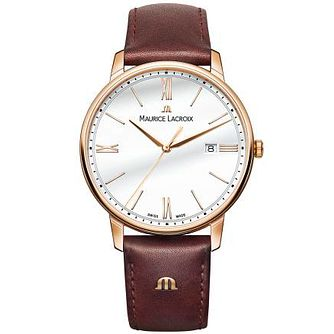 Maurice Lacroix Men's Rose Gold Plated Brown Strap Watch - Product number 4936361