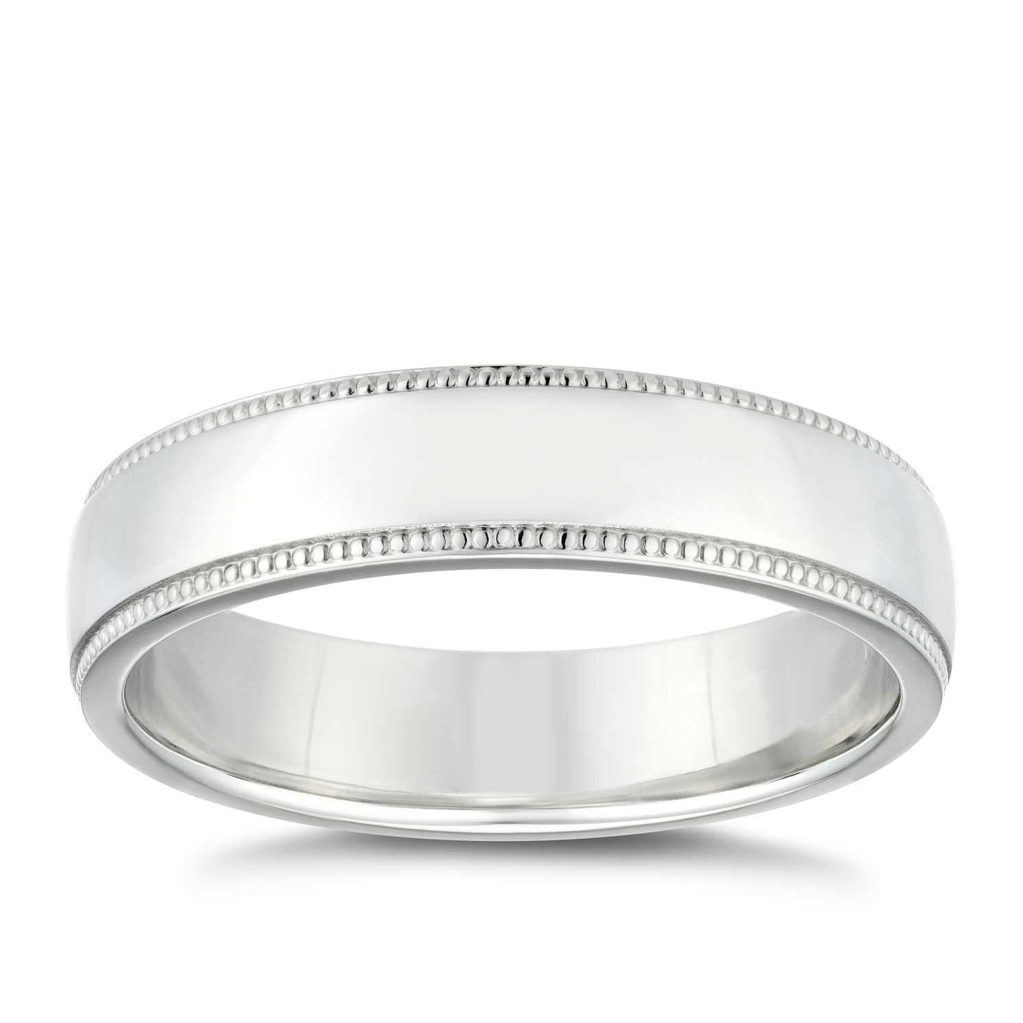 Silver Polished 5mm Men's Milgrain Edge Ring - Product number 4937465