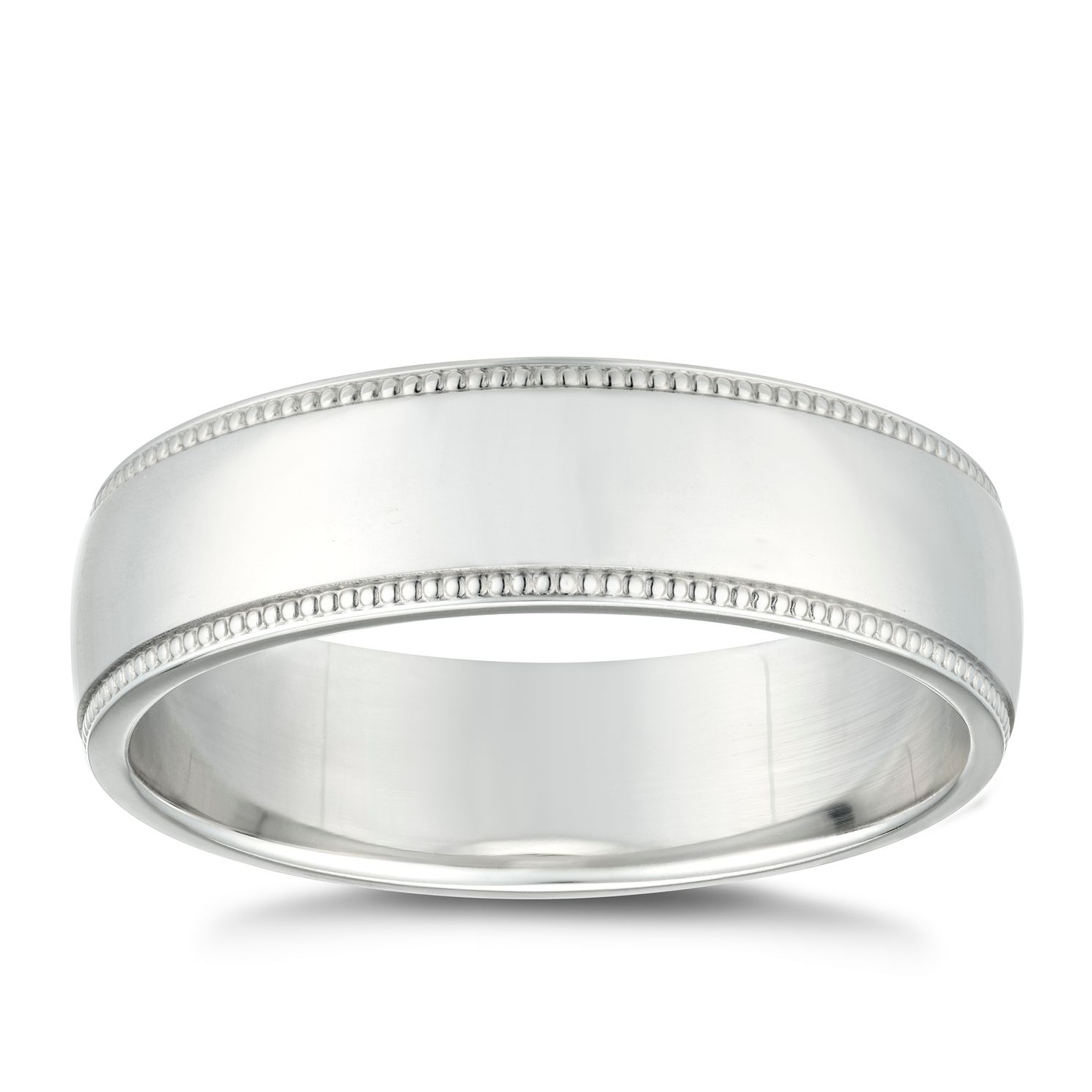 Silver Polished 6mm Men's Milgrain Edge Ring - Product number 4937635