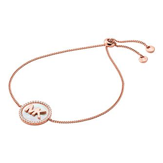 Michael Kors Rose Gold Tone Mother of Pearl Logo Bracelet - Product number 4939492
