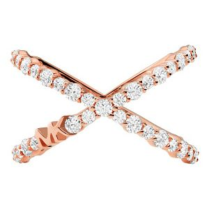 Michael Kors Rose Gold Tone Cubic Zirconia X Ring - Product number 4939611