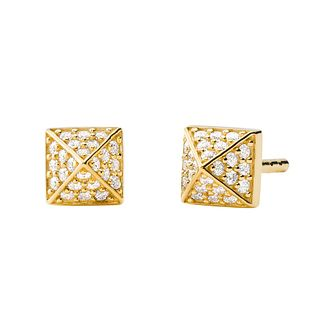 Michael Kors Yellow Gold Tone Cubic Zirconia Stud Earrings - Product number 4939743