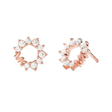 Michael Kors Rose Gold Tone Cubic Zirconia MK Stud Earrings - Product number 4939794