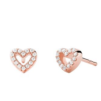 Michael Kors Ladies' Rose Gold Tone Love Heart Stud Earrings - Product number 4939824