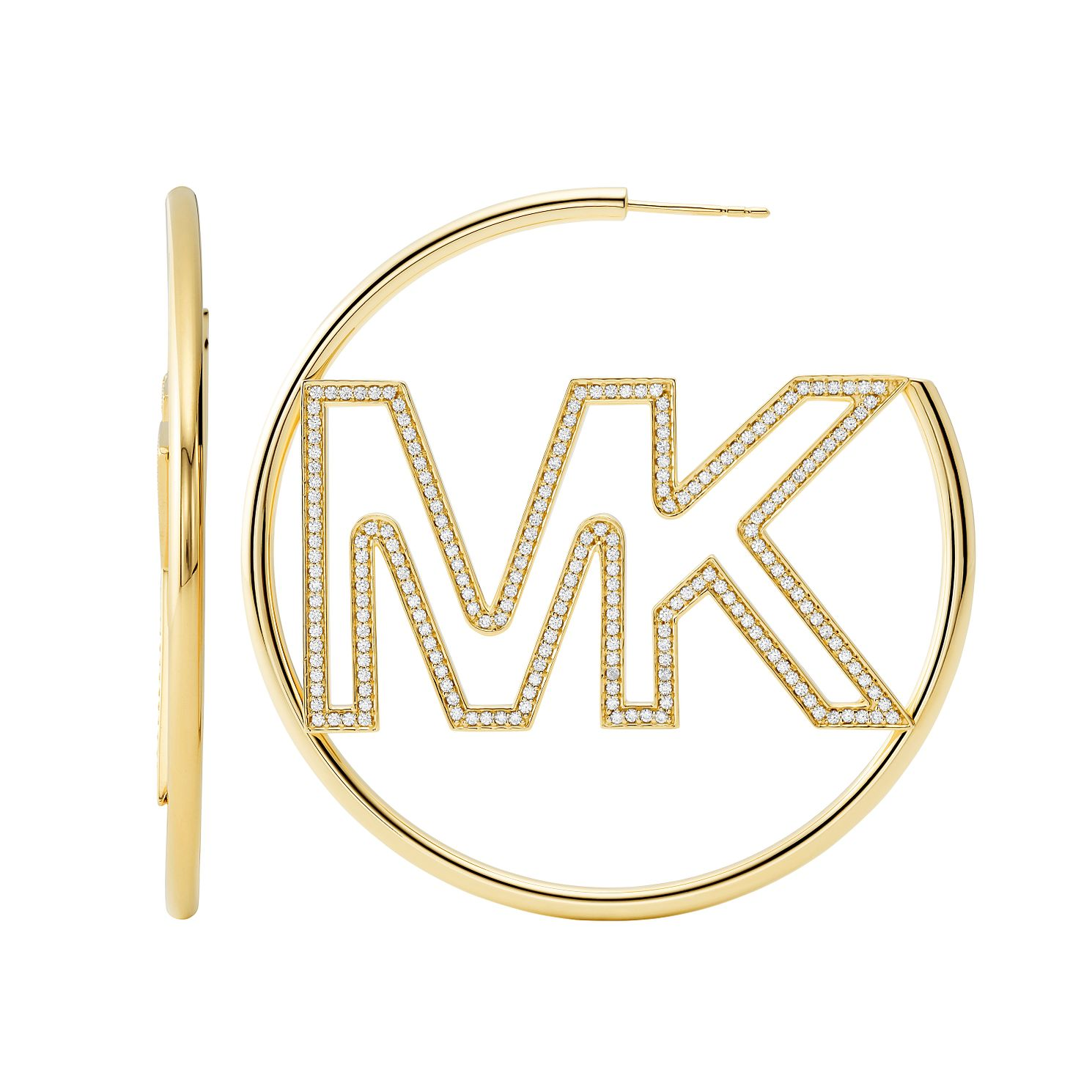 Michael Kors Gold Plated Silver Logo 3/4 Hoop Earrings - Product number 4939883