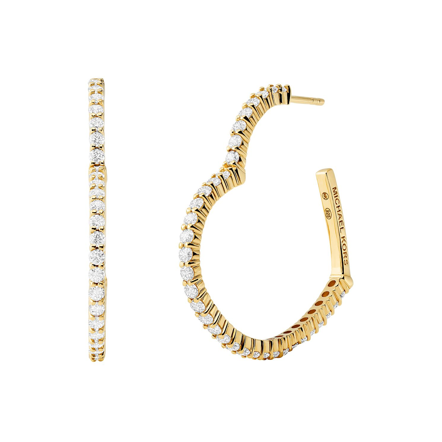 Michael Kors Yellow Gold Tone Love Heart Hoop Earrings - Product number 4939980
