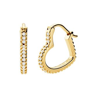 Michael Kors Yellow Gold Tone Love Heart Hoop Earrings - Product number 4940016