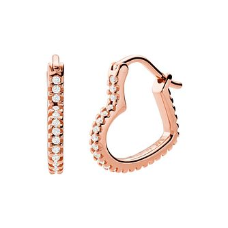 Michael Kors Rose Gold Tone Love Heart Hoop Earrings - Product number 4940067