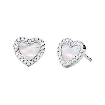Michael Kors Silver Mother of Pearl Heart Stud Earrings - Product number 4940075