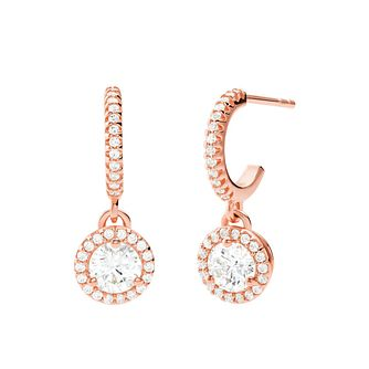 Michael Kors Rose Gold Plated Silver CZ 1/2 Hoop Earrings - Product number 4940164