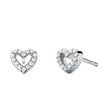 Michael Kors Ladies' Silver Love Heart Stud Earrings - Product number 4940512