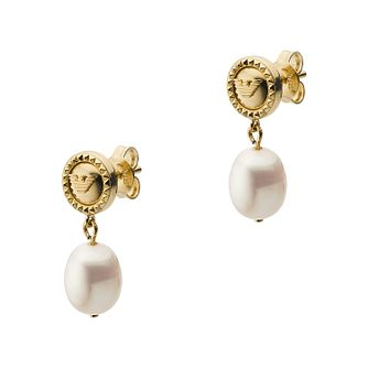 Emporio Armani Ladies' Yellow Gold Tone Pearl Drop Earrings - Product number 4940563