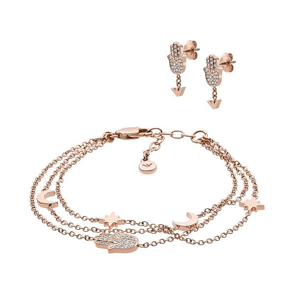 Emporio Armani Rose Gold Tone Earring & Bracelet Gift Set - Product number 4940709