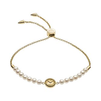 Emporio Armani Ladies' Yellow Gold Tone Pearl Bracelet - Product number 4940733