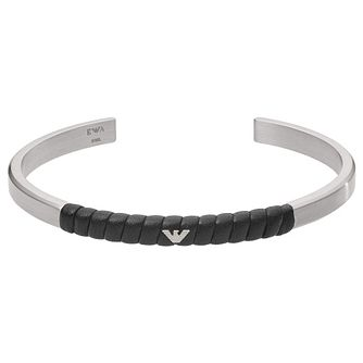 Emporio Armani Men's Stainless Steel & Leather Cuff Bracelet - Product number 4940865