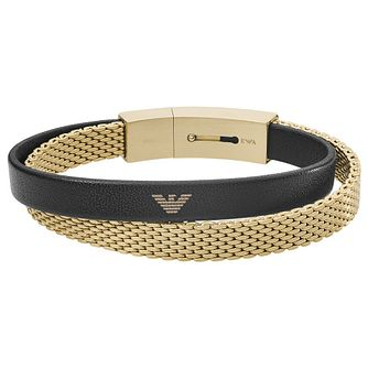 Emporio Armani Men's Yellow Gold Tone Mesh Bracelet - Product number 4941292