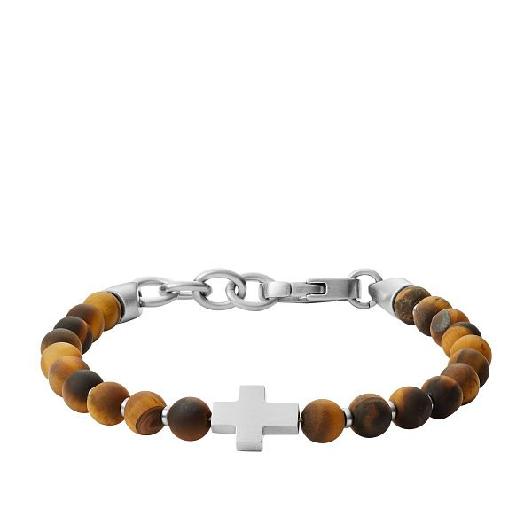 Fossil Men's Tiger's Eye & Cross Beaded Bracelet - Product number 4944380