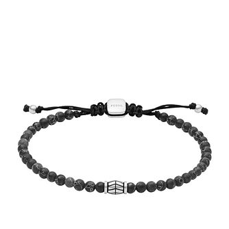 Fossil Men's Black Marble Beaded Bracelet - Product number 4944402