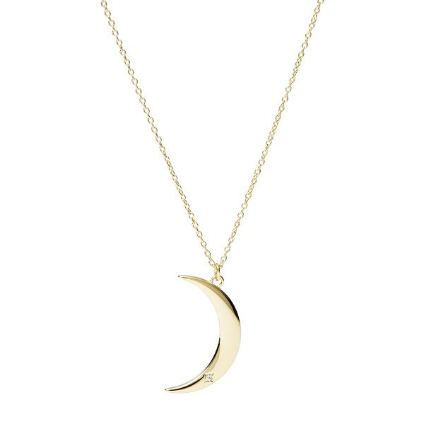 Fossil Vintage Motifs Yellow Gold Tone Moon Necklace - Product number 4944925