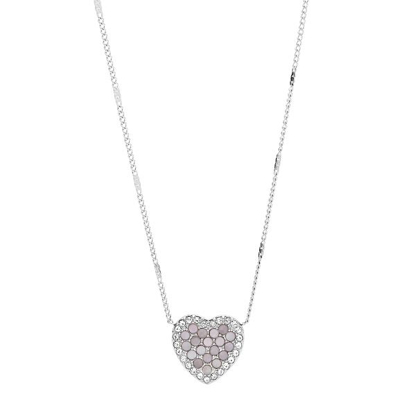 Fossil Vintage Glitz Stainless Steel Heart Necklace - Product number 4944992