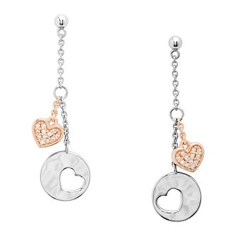 Fossil Ladies' Silver Rose Gold Tone Hearts Drop Earrings - Product number 4945255