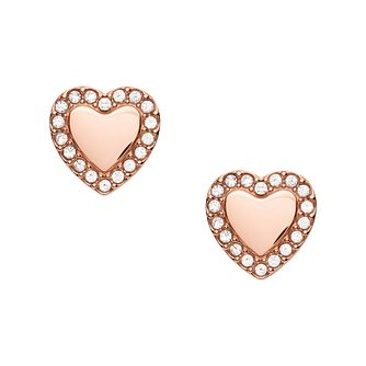 Fossil Be Mine Rose Gold Tone Heart Stud Earrings - Product number 4945646