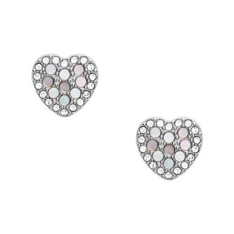 Fossil Vintage Glitz Stainless Steel Heart Stud Earrings - Product number 4945670