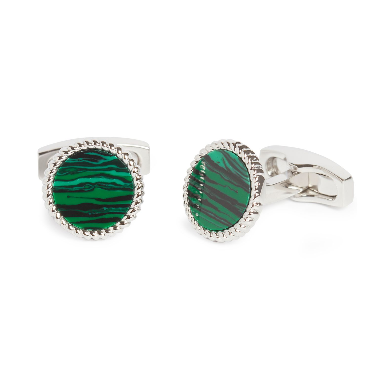 Simon Carter Men's Stainless Steel Malachite Rope Cufflinks - Product number 4946197