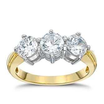 18ct Gold 2ct Total Diamond Three Stone Ring - Product number 4951786