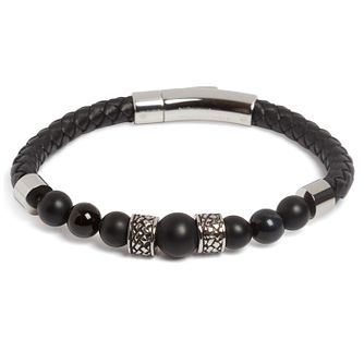 Simon Carter Stainless Steel Black Leather Onyx Bracelet - Product number 4952502
