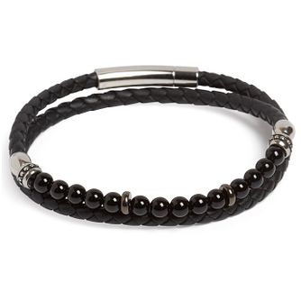 Simon Carter Black Leather Onyx Wrap Bracelet - Product number 4952634