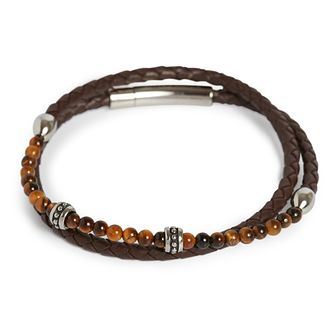 Simon Carter Brown Leather Tigerseye Bracelet - Product number 4952642