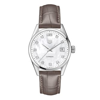 TAG Heuer Carrera Ladies' Grey Leather Strap Watch - Product number 4953606