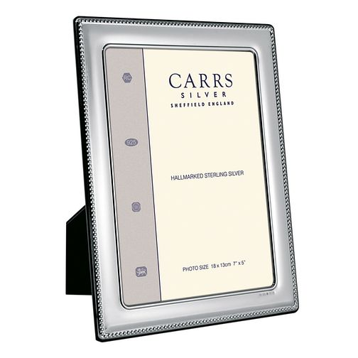 "Carrs Sterling Silver 7""x5"" Beaded Trim Photo Frame - Product number 4955285"