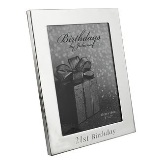 "21st Birthday Silver Plated Photo frame 5"" x 7"" - Product number 4955382"