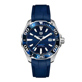 TAG Heuer Aquaracer Men's Blue Leather Strap Watch - Product number 4958284