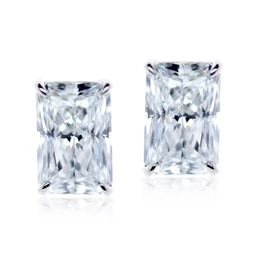 CARAT* LONDON 9ct White Gold Stone Set Studs - Product number 4958977