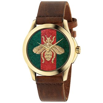 Gucci Le Marché Des Merveilles Bee Brown Leather Strap Watch - Product number 4963687