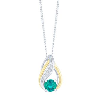 Sterling Silver & 9ct Gold Created Emerald & Diamond Pendant - Product number 4966406