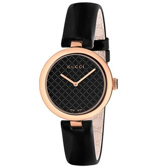Gucci Diamantissima Black Leather Strap Watch - Product number 4966740