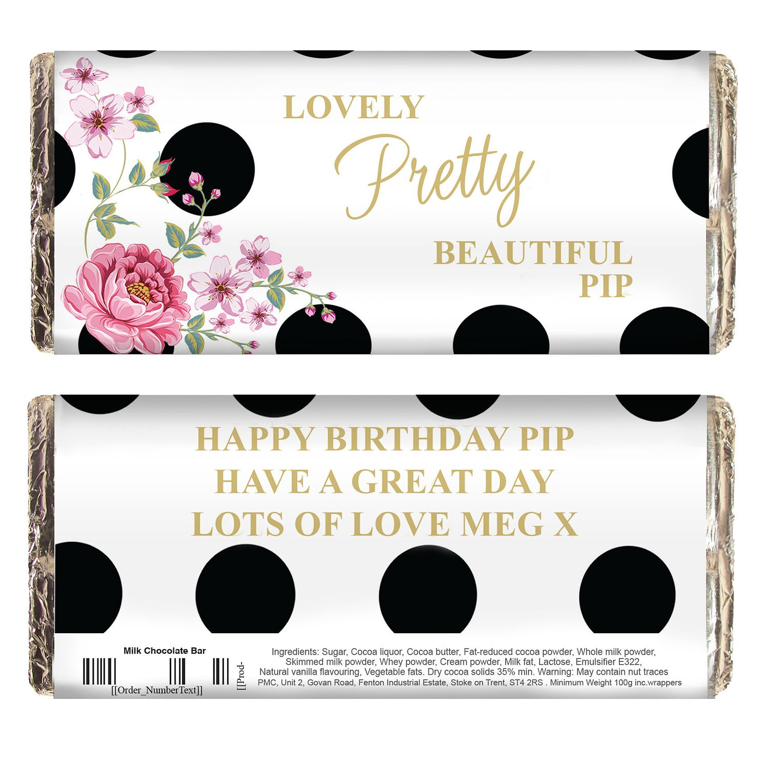 Personalised Floral Dot Milk Chocolate Bar - Product number 4969715