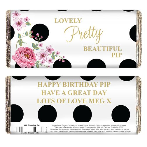 Personalised Floral Dot Chocolate Bar - Product number 4969715