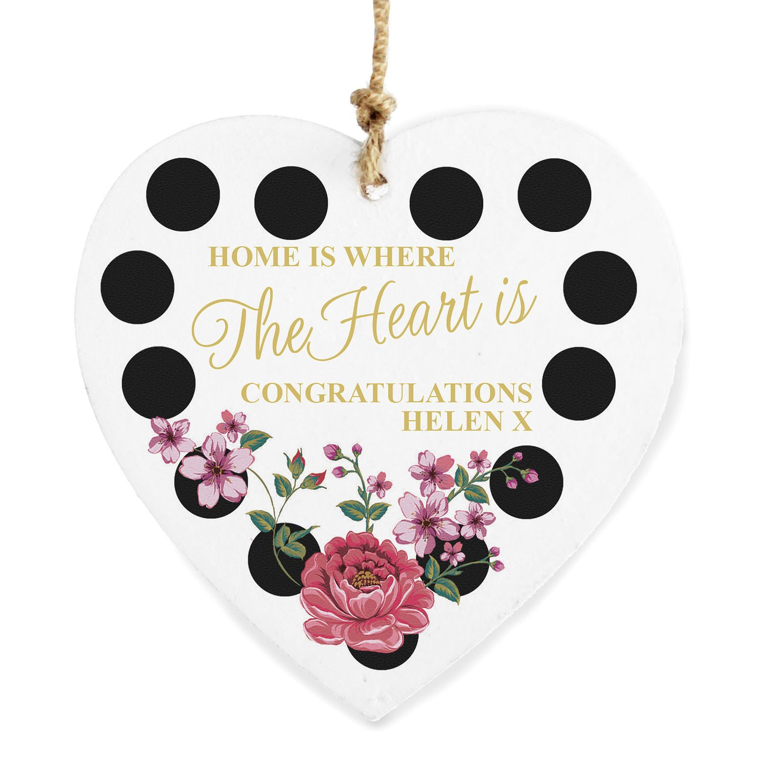 Personalised Floral Dot Wooden Heart Decoration - Product number 4969804